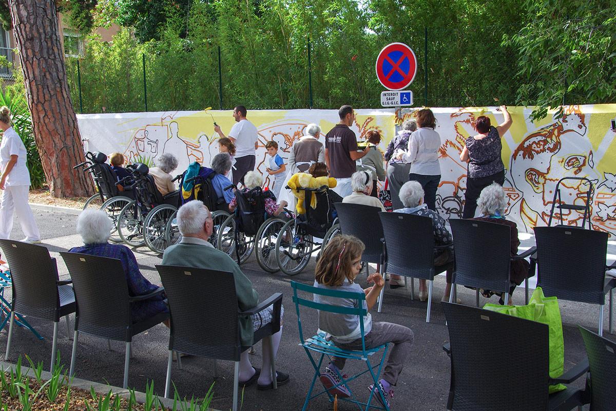 Street Art participatif Toulon Marseille Nice - Maison de retraite - La Minorque